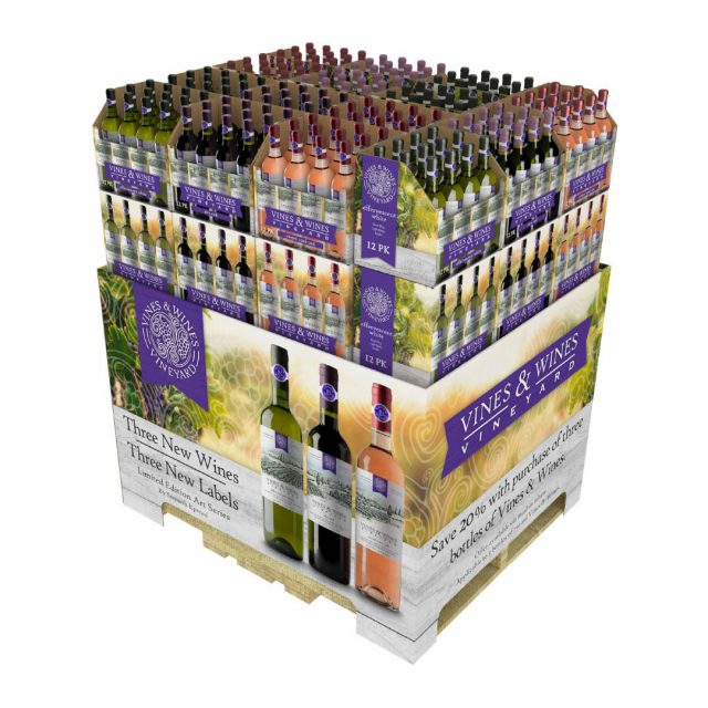 Wine SRP Packaging RRP Shelf-Ready Retail-Ready Full Pallet Display